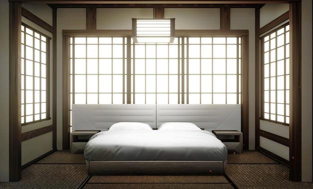 Interni camera da letto moderna di lusso in stile giapponese, mock up, la più bella. rendering 3d