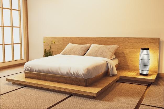 Interni camera da letto moderna di lusso in stile giapponese