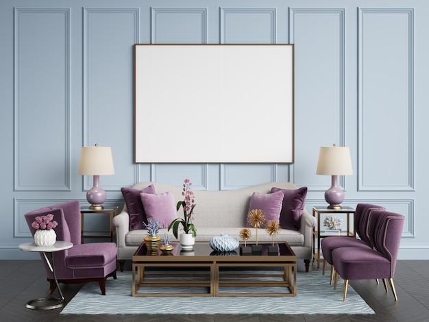 Interni classici. divano, sedie, tavoli laterali con lampade, tavolo con decorazioni. pareti bianche con modanature. parquet a spina di pesce. rendering 3d