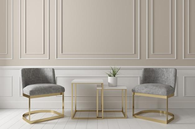 Interni contemporanei del soggiorno beige con poltrona in tessuto grigio e tavolino sul pavimento in legno bianco.