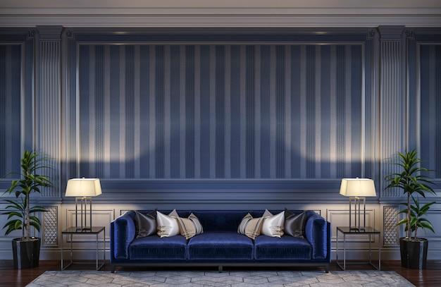 Interni contemporanei nei toni del blu con un divano e carta da parati a righe. rendering 3d