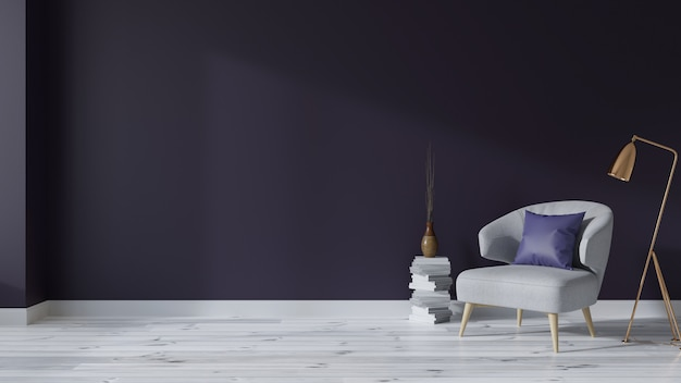 Interni d'epoca del salotto con poltrone su pavimenti bianchi e pareti viola intenso