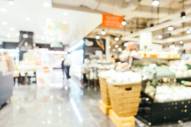 Interni di supermercati di sfocatura astratta
