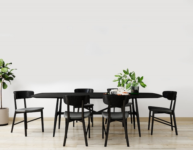 Interni eleganti di luminoso soggiorno con tavolo nero e tavolo sedia, con decorazione. salone interno mockup. camera dal design moderno con luce naturale. rendering 3d
