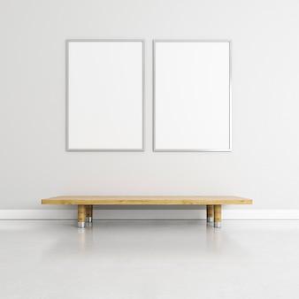 Interni minimalisti con eleganti cornici e tavolo