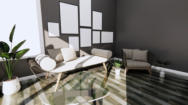Interni moderni con divano e poltrona sul pavimento scuro piastrelle in legno a parete e pavimento. rendering 3d