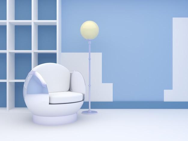 Interni moderni con sedia rotonda