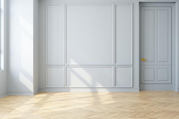 Interni moderni d'epoca di soggiorno, pavimento in parquet e muro bianco, stanza vuota