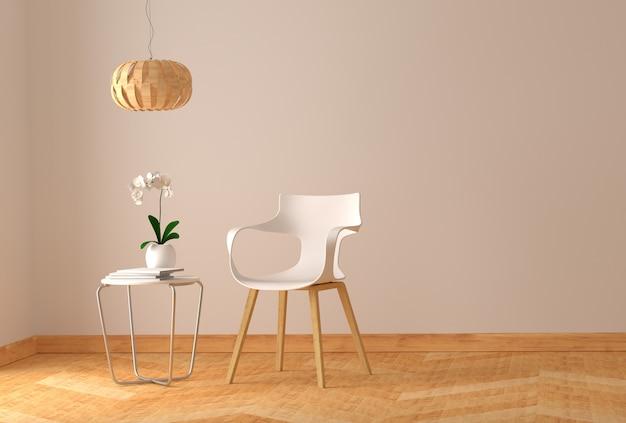 Interni moderni del salotto con tavolo e sedia in legno