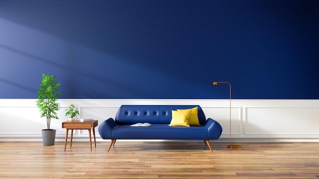 Interni moderni del salotto, divano blu sulla pavimentazione in legno e parete blu scuro. , rendering 3d