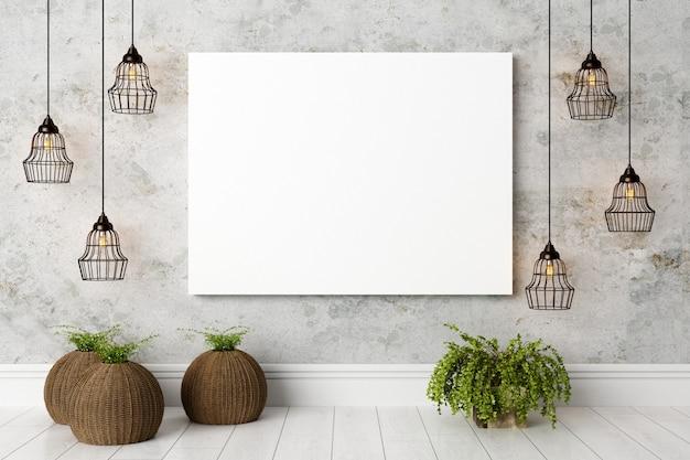 Interni moderni e luminosi con tela bianca o cornice per foto
