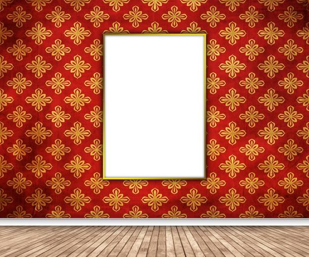 Interno 3d con l'immagine in bianco che appende sulla parete del damasco