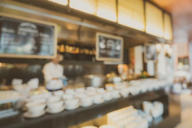 Interno astratto del caffè e del ristorante della caffetteria di defocus della sfuocatura