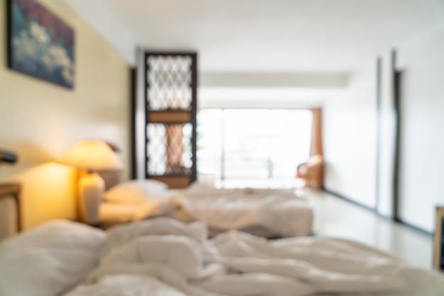 Interno astratto della camera da letto della sfuocatura come fondo vago