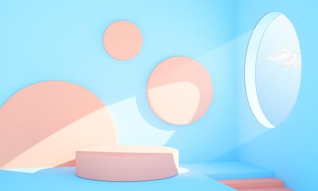 Interno astratto rosa e blu