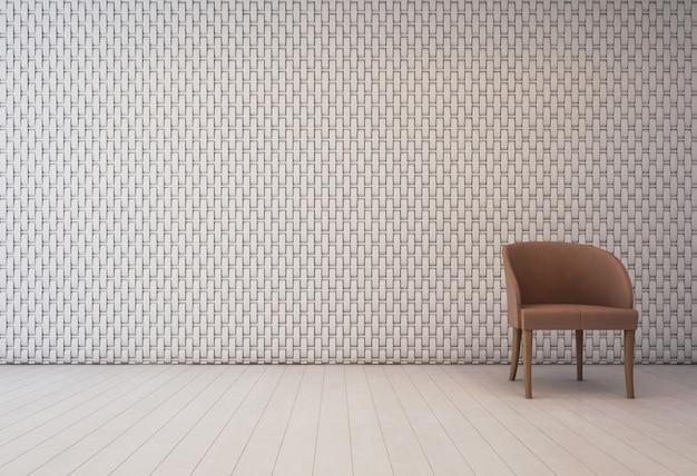 Interno bianco con motivo decorativo a parete e poltrona.