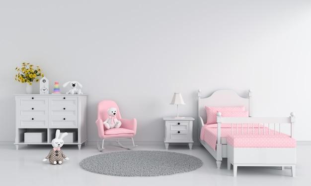 Interno bianco della camera da letto del bambino della ragazza