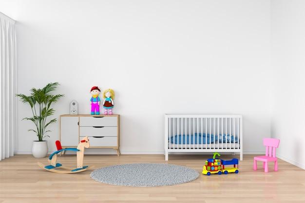 Interno bianco della stanza del bambino per il modello, rappresentazione 3d