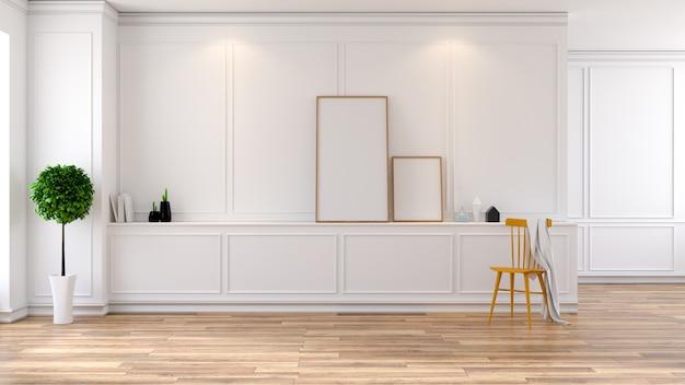 Interno bianco e moderno della stanza, sedia gialla con il modello di fama, rappresentazione 3d