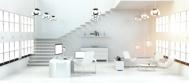 Interno bianco moderno dell'ufficio con la rappresentazione dei dispositivi e del computer 3d