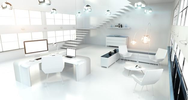 Interno bianco moderno dell'ufficio con la rappresentazione di 3d dei dispositivi e del computer