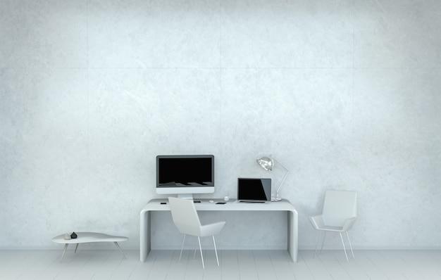 Interno bianco moderno dell'ufficio dello scrittorio con la rappresentazione dei dispositivi 3d e del computer
