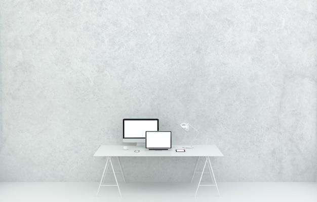 Interno bianco moderno dell'ufficio dello scrittorio con la rappresentazione di 3d dei dispositivi e del computer, copyspace