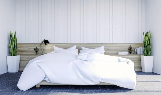 Interno bianco moderno della camera da letto contemporanea con lo spazio della copia sulla parete per derisione su