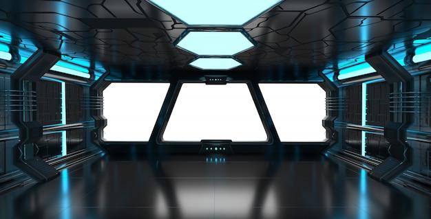 Interno blu dell'astronave con gli elementi della rappresentazione 3d della finestra vuota di questa immagine ammobiliati dalla nasa