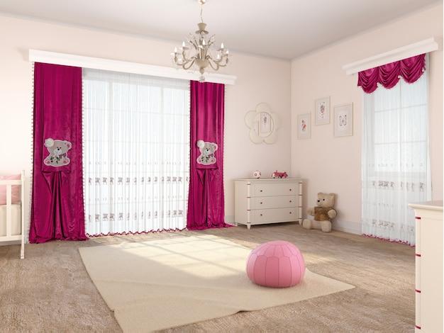 Interno camera da letto con decorazione