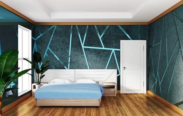 Interno camera da letto loft con modanatura di sfondo blu cemento, disegni minimali.