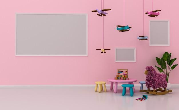 Interno camera dei bambini con decorazioni carine e cornici vuote sul muro. rendering 3d