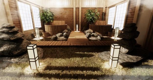 Interno camera onsen con bagno in legno e decorazioni in legno in stile giapponese