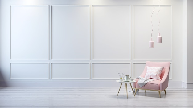 Interno classico moderno del salone, sofà rosa-chiaro su stanza bianca, rappresentazione 3d