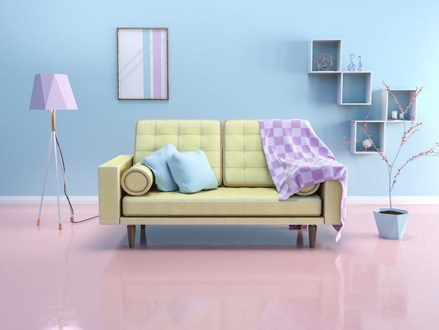 Interno con divano e lampada
