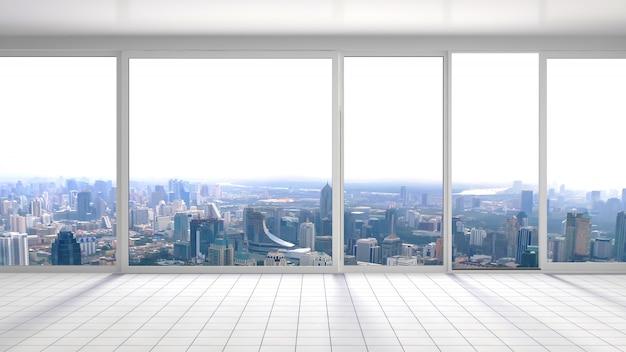 Interno con grande finestra. illustrazione 3d