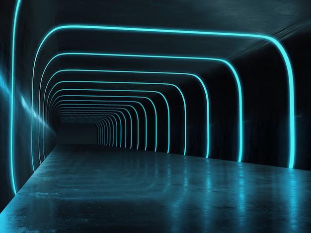 Interno corridoio lungo scuro con luce futuristica.