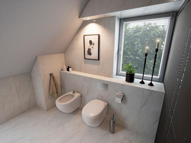 Interno del bagno moderno con lavandino e wc