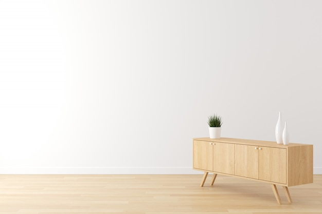 Interno del muro bianco scena vivente, pavimento in legno e armadio in legno installato per la pubblicità con spazio vuoto per il testo.