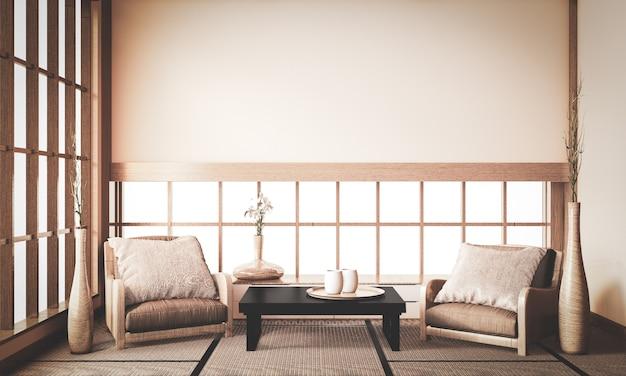 Interno del ryokan, la parte anteriore della stanza è in stile giapponese tradizionale che è difficile da trovare. rendering 3d