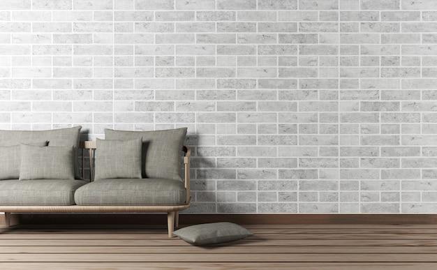 Interno del salone con il sofà e lo spazio della copia sul muro di mattoni, rappresentazione 3d