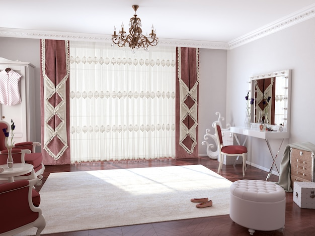 Interno del salone con la decorazione