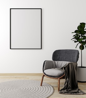 Interno del salone con la poltrona e la pianta grige, derisione bianca della parete su fondo, rappresentazione 3d