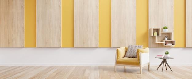Interno del salone con la poltrona, il libro e le piante gialli del tessuto sulla parete gialla vuota.
