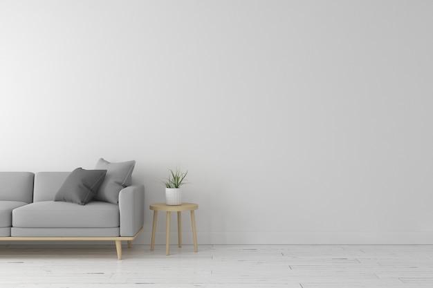 Interno del salotto in stile moderno con divano in tessuto grigio, tavolino in legno e colore della parete bianca su pavimento in legno bianco. rendering 3d