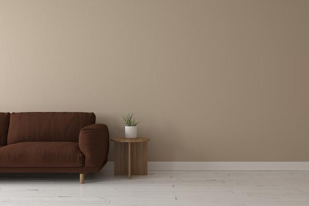 Interno del salotto in stile moderno con divano in tessuto marrone scuro, tavolino in legno e colore della parete beige