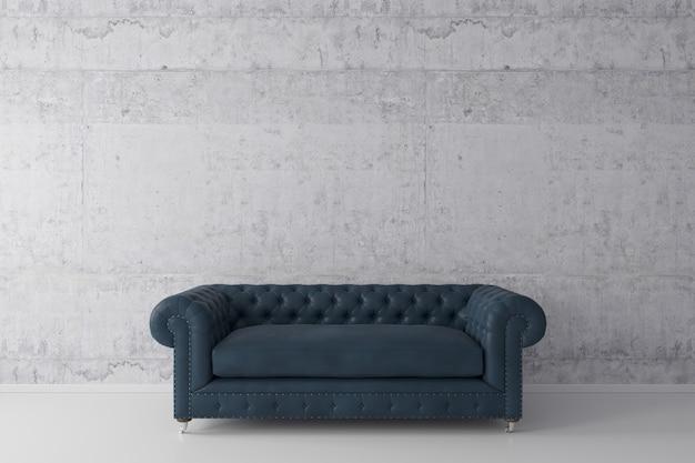 Interno del soggiorno in stile loft con divano blu scuro con muro di cemento sul pavimento di cemento bianco.