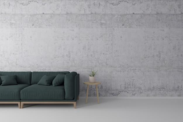 Interno del soggiorno in stile loft con divano in tessuto verde, tavolino in legno con muro di cemento sul pavimento di cemento bianco.