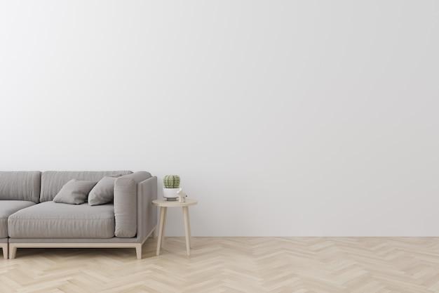 Interno del soggiorno in stile moderno con divano in tessuto, tavolino e parete bianca vuota sul pavimento in legno