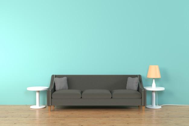 Interno del soggiorno. morbido divano e cuscino vicino alla lampada morbida